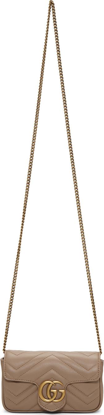 Gucci Pink Supermini GG Marmont Chain Bag