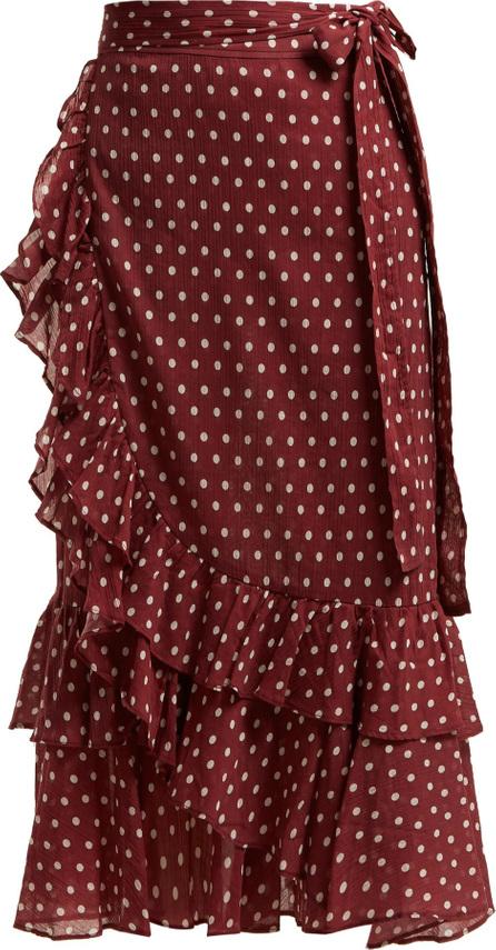 Lee Mathews Maisee polka-dot print cotton wrap-skirt