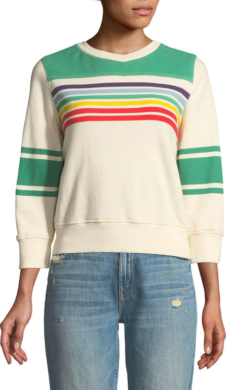 MOTHER Striped Long-Sleeve Crewneck Sweatshirt