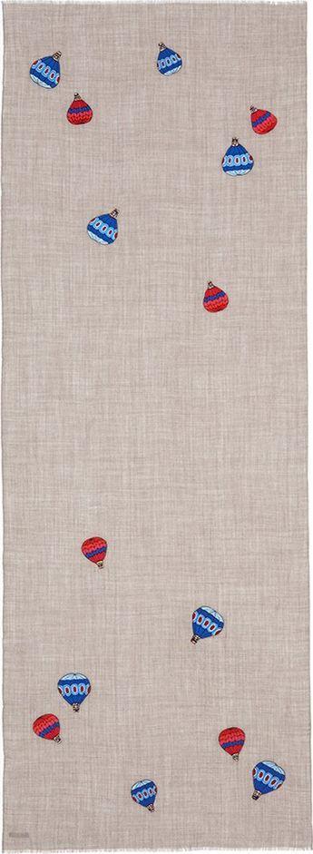 Janavi 'Hotair Balloons' embroidered wool-silk scarf