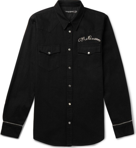 Alexander McQueen Slim-Fit Logo-Embroidered Denim Western Shirt