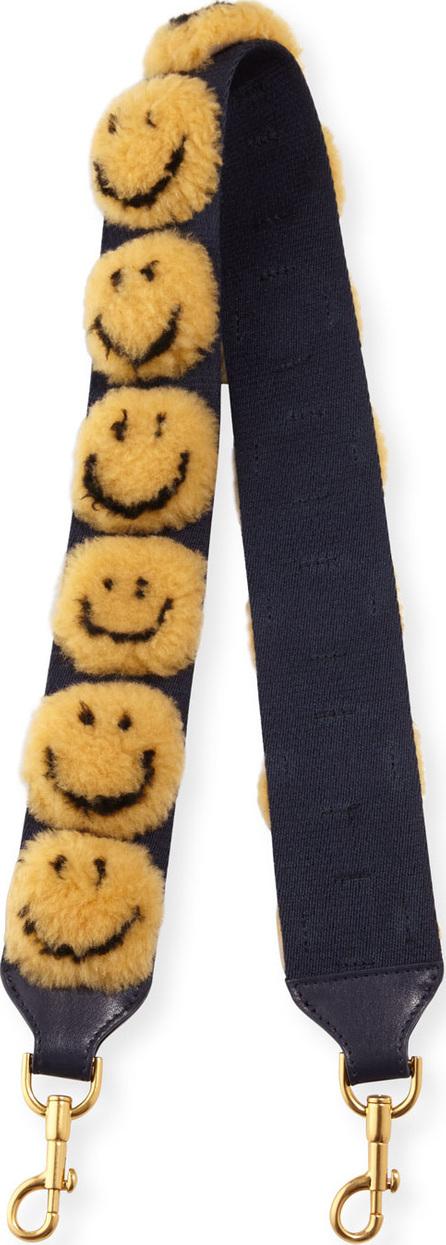 Anya Hindmarch Pompom Smiley Shoulder Strap for Handbag, Mustard