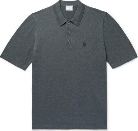 Burberry London England Contrast-Tipped Mélange Cotton Polo Shirt