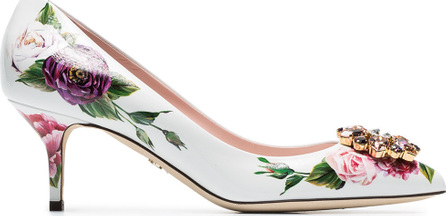 Dolce & Gabbana White, Pink And Green Rose Crystal Embellished 60 Leather Pumps