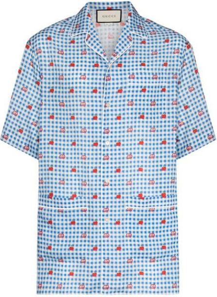 Gucci Gingham logo linen shirt