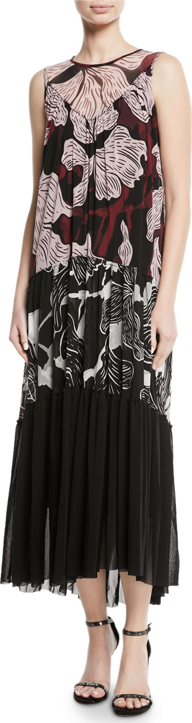 Fuzzi Patchwork Vino-Print Sleeveless Long Dress