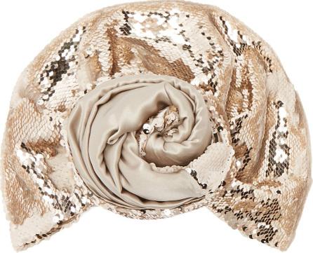 Julia Clancey Sequin-embellished silk turban hat