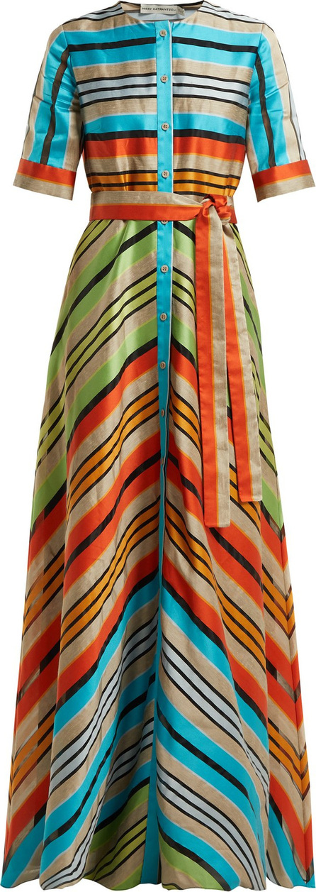 Mary Katrantzou Maar chevron-stripe organza gown