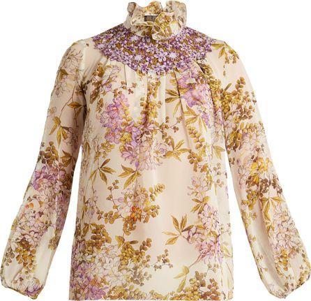 Giambattista Valli Felche Fiori-print silk-georgette top