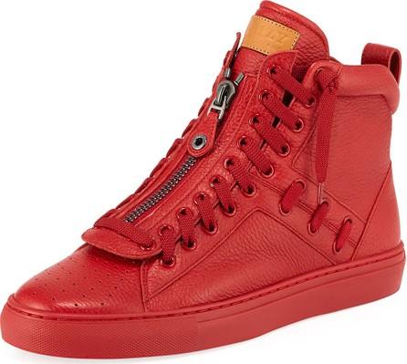 Bally Men's Hekem Patchwork Deerskin Leather High-Top Sneakers