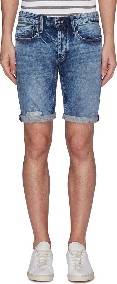 Denham 'Razor' ripped skinny denim shorts