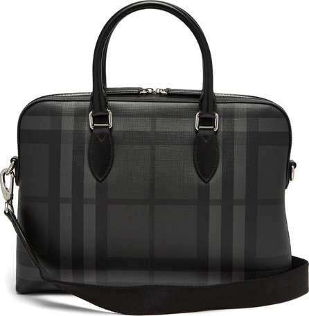 Burberry London England The Barrow House-check leather briefcase