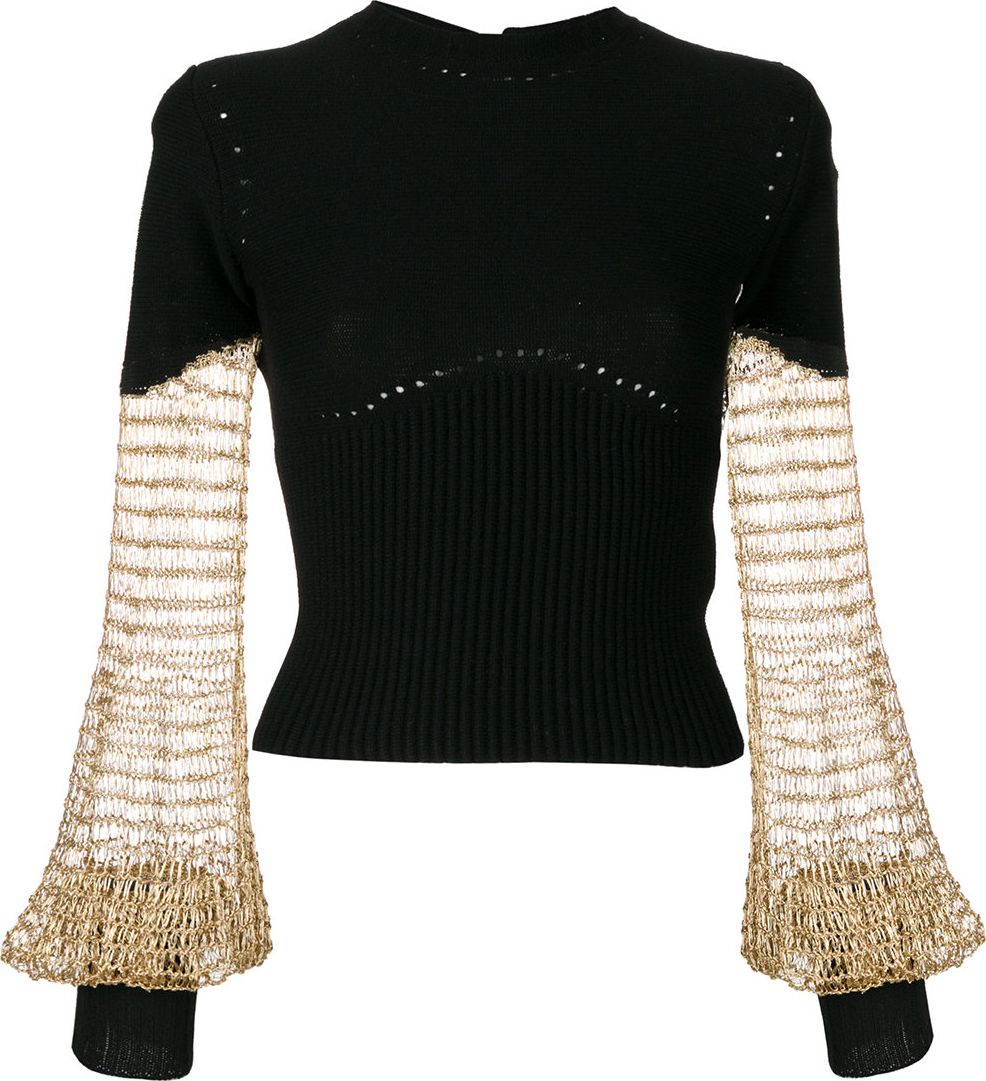 Alexander McQueen - ribbed pullover with mesh metallic sleeves