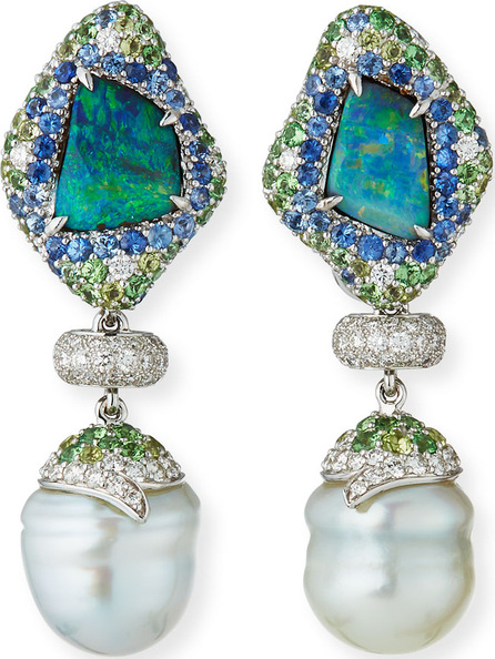 Margot McKinney 18k White Gold Mixed Pave & Pearl Drop Earrings