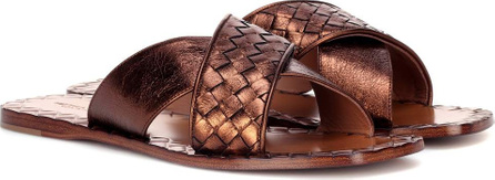Bottega Veneta Intrecciato metallic leather slides