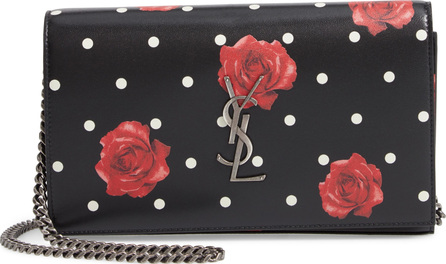 Saint Laurent Rose & Polka Dot Leather Wallet on a Chain