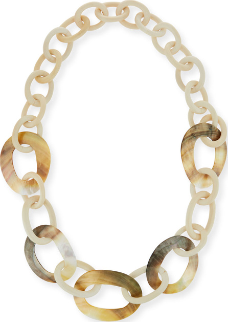 Viktoria Hayman White Wood & Mother-of-Pearl Link Necklace