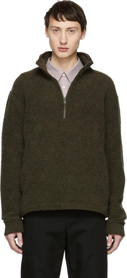 A.P.C. Khaki Beaver Zip-Up Sweater