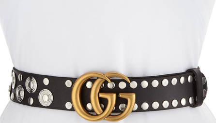 Gucci Studded Leather Belt with GG Buckle