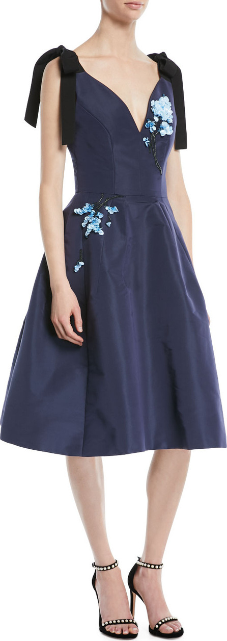 Carolina Herrera Sleeveless Bow-Shoulder Fit-and-Flare Cocktail Dress with Paillette Embroidery