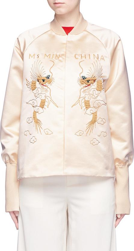 Ms MIN Dragon embroidered satin bomber jacket