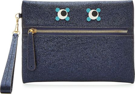 Anya Hindmarch Circulus Eyes Metallic Leather Pouch