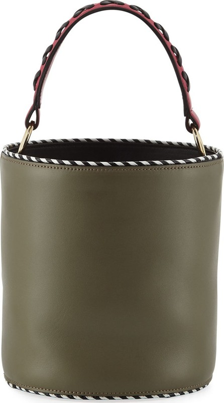 Les Petits Joueurs Olivia Leather Twisted Piping Bucket Bag