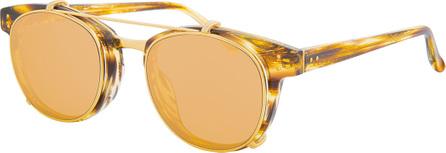 Linda Farrow Square Acetate Sunglasses w/ Clip-On Lenses, Gold/Tortoise