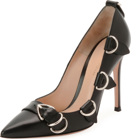 Gianvito Rossi Leather Buckle-Strap Pointed High Pump