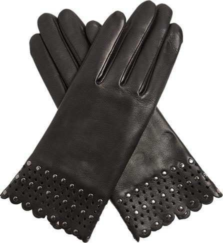 Agnelle Stud-embellished leather gloves