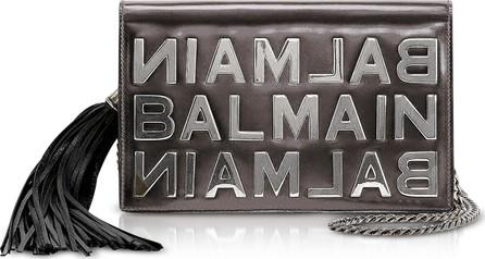 Balmain Gunmetal Mirrored Leather Signature Clutch
