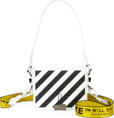 Off White Diagonal Stripe Leather Flap Shoulder Bag