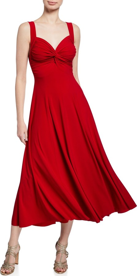 Norma Kamali Sweetheart Sleeveless Midi Dress with Twist Detail