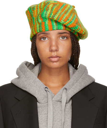 Acne Studios Green & Orange Knit Beret
