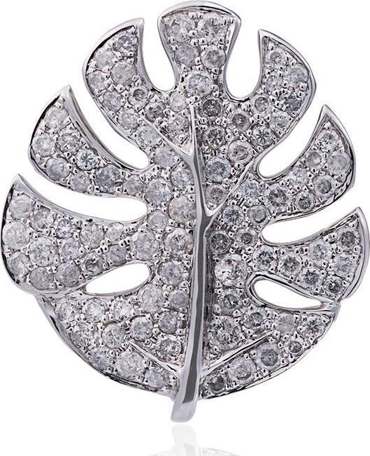 Yvonne Leon - White Palm Leaf Gold Diamond Earrings