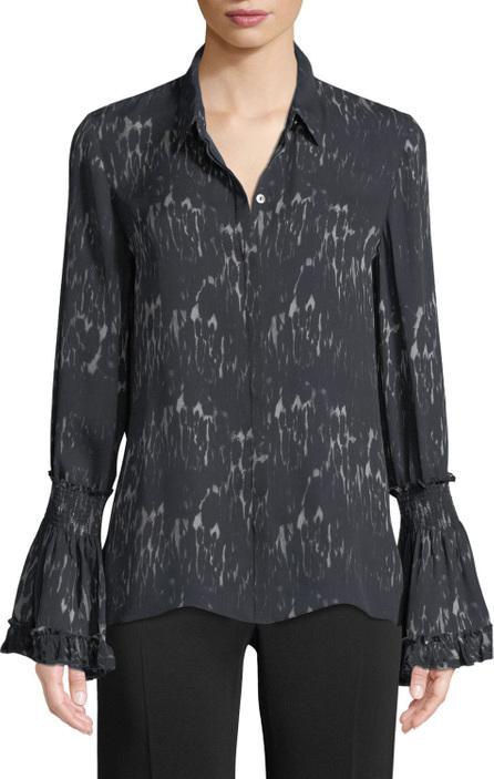 KOBI HALPERIN Edina Bell-Cuff Button-Front Printed Silk Blouse