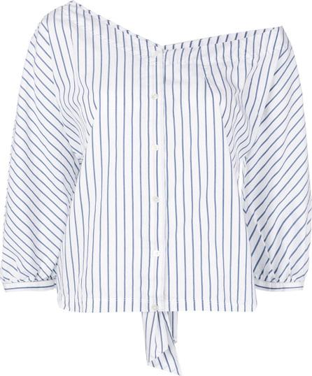 FRAME DENIM Striped off shoulder shirt