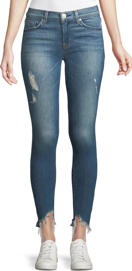 Hudson Nico Mid-Rise Skinny-Leg Jeans w/ Raw Zip Hem