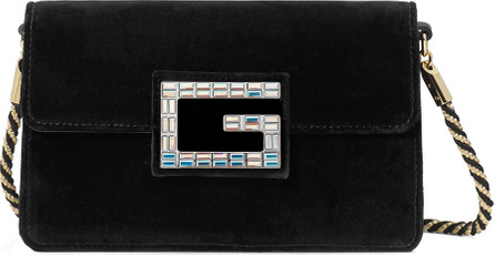 Gucci Broadway Small Velvet Shoulder Bag with Square G