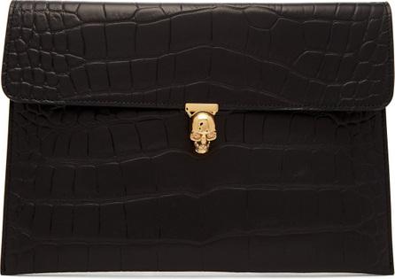 Alexander McQueen Crocodile-effect envelope clutch