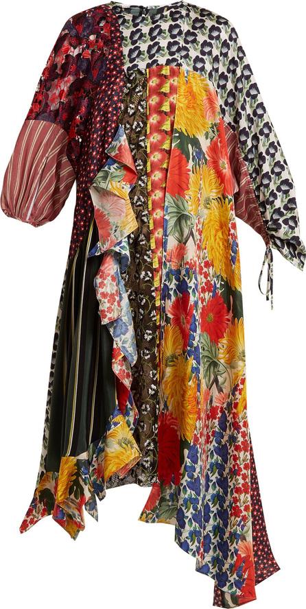 Biyan Arista patchwork silk-blend dress