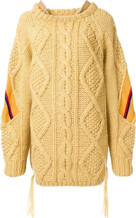 FACETASM leather trim oversized knit jumper