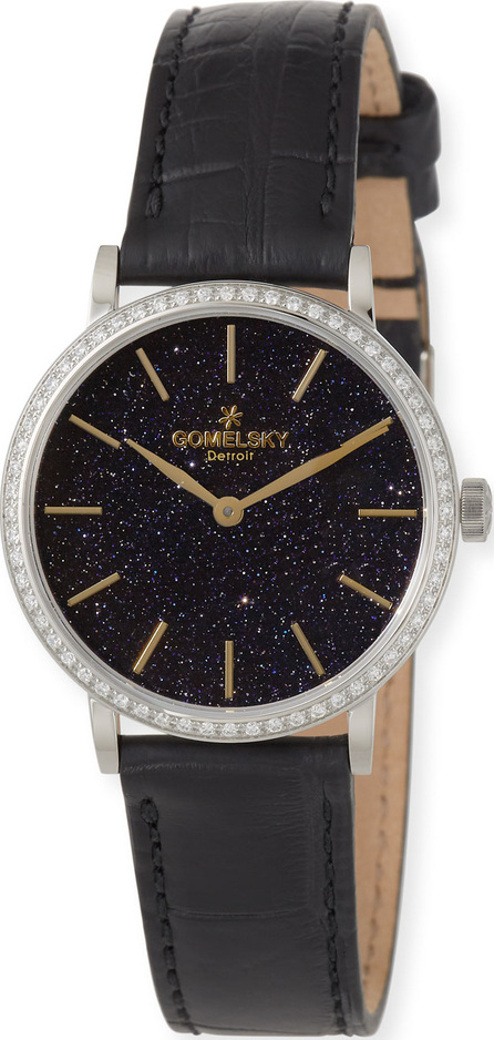 Gomelsky The Agnes 32mm Sandstone Watch with Diamonds & Black Alligator Strap