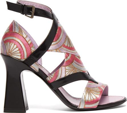 Fabrizio Viti Block-heel jacquard sandals