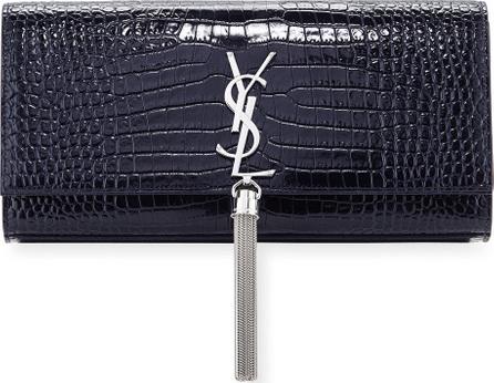 Saint Laurent Kate Monogram YSL Tassel Faux-Crocodile Clutch Bag
