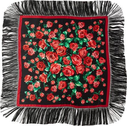 Dolce & Gabbana Rose Print Fringe Silk Blend Scarf