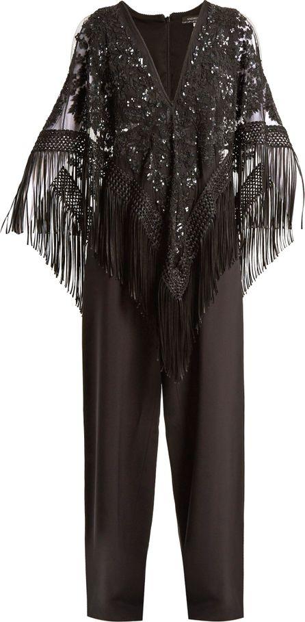 Andrew Gn Embellished-cape crepe jumpsuit