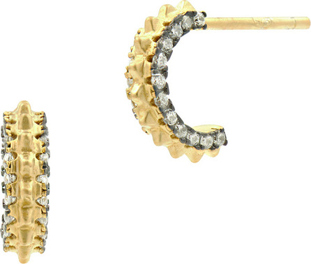 Freida Rothman Pave Cubic Zirconia Gear Huggie Hoop Earrings, Golden