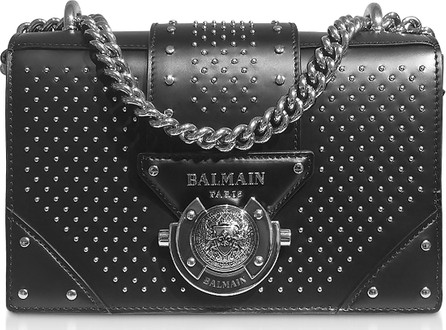 Balmain Black Studded Leather Top Handle Mini Bag