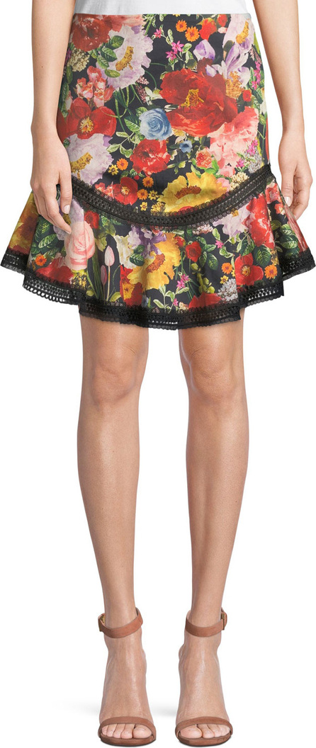 Alice + Olivia Eriko Floral-Print Curved-Hem Skirt with Lace Trim